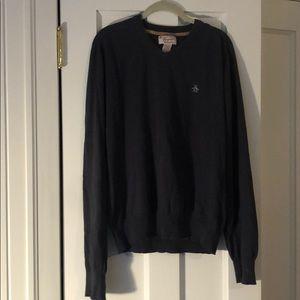 Men's L Penguin v neck sweater, navy, cotton blend